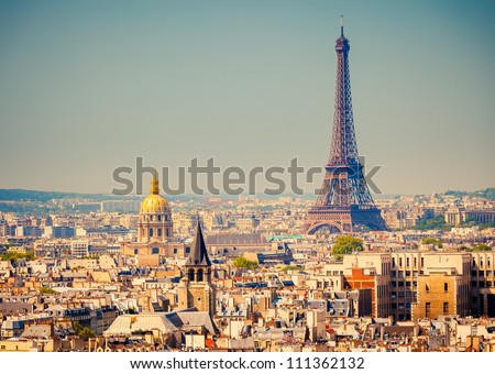 View on Eiffel Tower Paris France