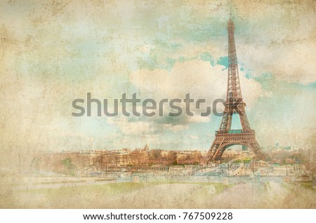 View on Eiffel Tower. Retro styled background. Paris, France