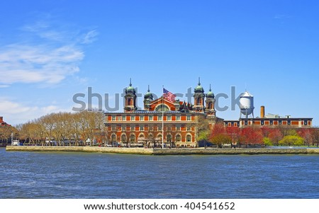 View on Ellis Island, USA, in Upper New York Bay