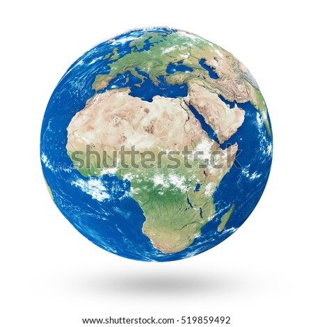 View on Europe and Africa. Earth Planet Isolated on white background. Elements of this image furnished by NASA. 3D Rendering
