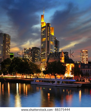 View on Frankfurt am Main at dusk, Germany