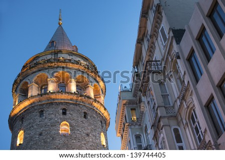 View on Galata tower in the Evening