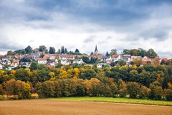 View on German city Homberg Ohm, Hessen, Germany. Beautiful small town on autumn day.
