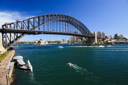 View on Harbour Bridge arch over harbour Sydney Australia and opera house from Luna park attraction sunny summer day