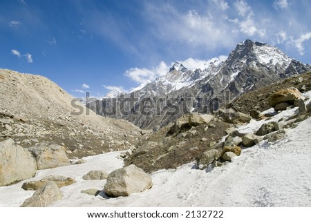 View on Himalayas mountains from Tapoban place, India