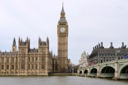 View on Houses of Parliament, Westminster Bridge and one on the symbols on London - Big Ben