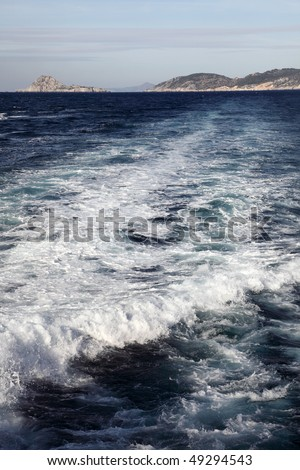 view on islands from the ship, Greece - stock photo