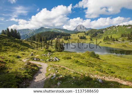 View on Koerber lake, the most beautiful spot in Austria, Arlberg and Hochtannberg area near Lech,Vorarlberg