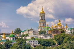 View on Kyiv Pechersk Lavra, Great Lavra Belltower and Related Monastic Buildings, Kyiv. Ukraine