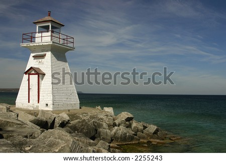 View on lighthouse, northern Ontario, horizontal.