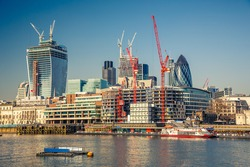 View on London City from Thames