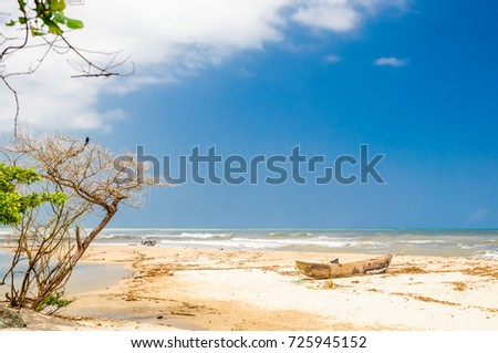 View on Lonely beach by palomino in Colombia  #725945152