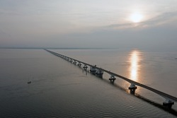 View on longest bridge in the Netherlands, Zealand bridge in the Netherlands at sunset