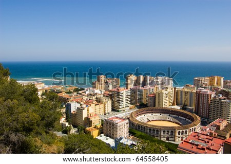 View on Malaga city and the sea in Andalusia, Spain - stock photo