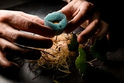 view on male hands holding egg in blue shell and place it in wood fiber nest. Molecular cuisine concepts