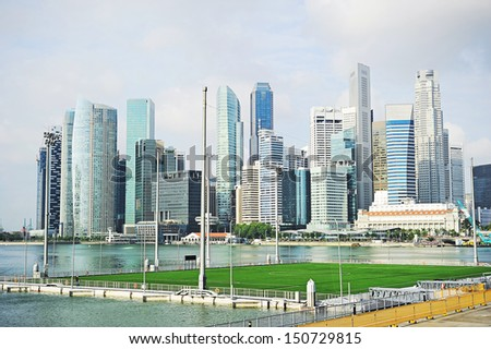 View on Marina Bay Floating Platform and Singapore downtown in the morning
