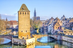 View on medieval bridge Ponts Couverts in Strasbourg, Alsace, France.