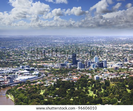 View on Melbourne city and distant suburbs from the tallest city tower Eureka, sunny summer day