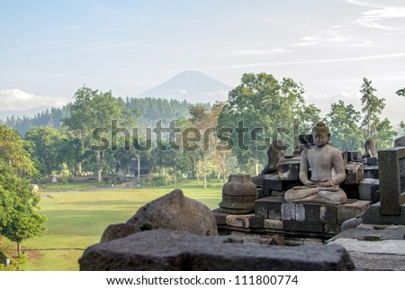 View on Merapi volcano from Borobudur temple, Java island, Indonesia