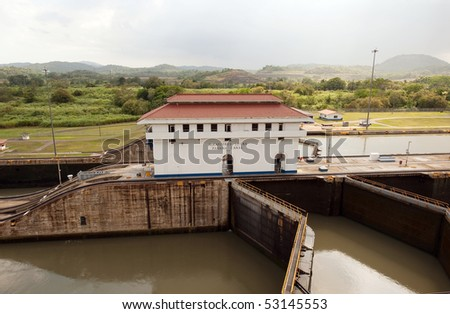 View on Miraflores locks in Panama canal