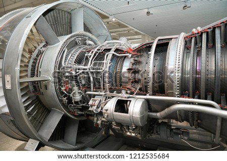 View on modern aircraft turbine cross section with different equpment, parts, components. Plane turbine blades