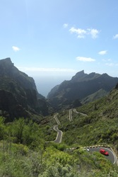 View on mountain road in Canary Islands