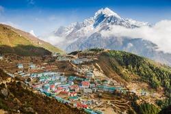 View on Namche Bazar, Khumbu district, Himalayas, Nepal