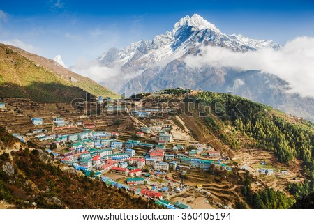 View on Namche Bazar, Khumbu district, Himalayas, Nepal Photo stock ©