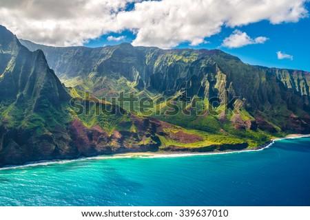 View on Napali Coast on Kauai island on Hawaii