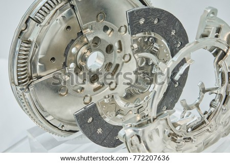 View on new clean car truck clutch component part detail with cross section. Clean car truck clutch components parts repair kit. Car clutch disc disk parts details components for maintenance repair.