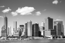 View on NewYork Downtown Skyline for the Hudson River on a Sunny Day in Black and White