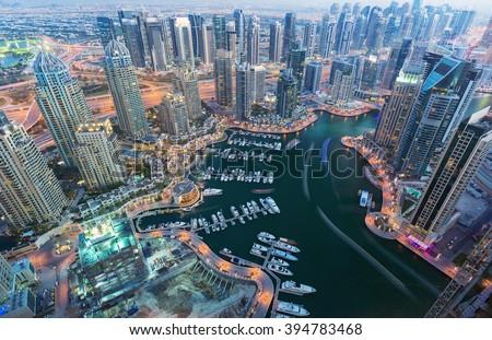 View on night highlighted luxury Dubai Marina,Dubai,United Arab Emirates #394783468