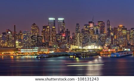 View on night Manhattan, New York