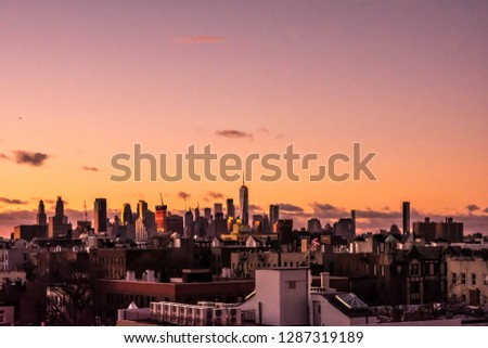 View on nyc skyline from Brooklyn rooftop