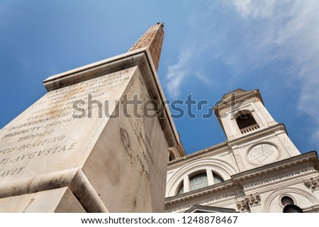 View on Obelisk at Spanish steps in Rome, Italy #1248878467