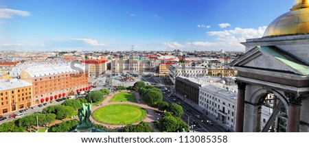 View on   of St. Petersburg city  from  the colonnade of St. Isaac's. Russia