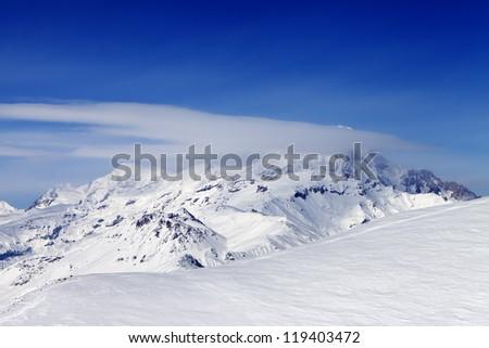 View on off-piste slope. Caucasus Mountains, Georgia, ski resort Gudauri.