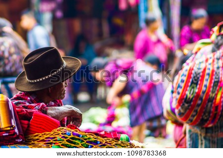 View on old maya man on market in Chichicastenango