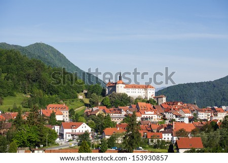 View on old medieval Slovenian town Skofja Loka on sunny day.
