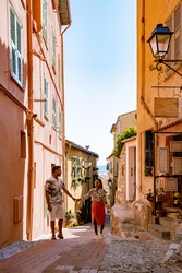 View on old part of Menton, Provence-Alpes-Cote d'Azur, France Europe during summer, couple men and woman on vacation at Menton France