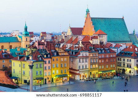 view on Old Town in Warsaw at dusk, Poland #698851117