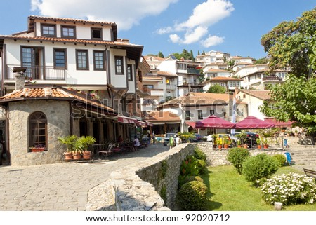 View on old town of Ohrid in Macedonia, Balkans.