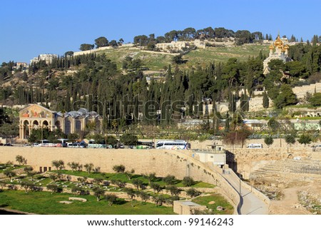 View on Olive Mountains in Jerusalem, Israel