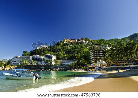 View on Pacific coast of Mexico resort town of Mismaloya near Puerto Vallarta