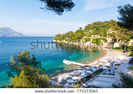 view on Paloma Beach near Villefranche-sur-Mer on french riviera, cote d'azur, France #775553065