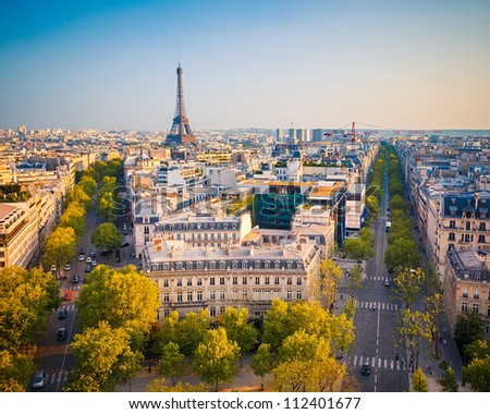 View on Paris at sunset France