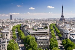 View on Paris from Arc de Triomphe. Eiffel tower on right and Tour Montparnasse on the left in background.