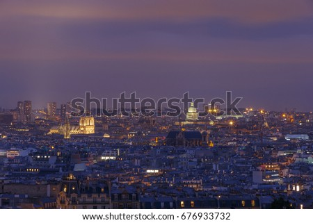 view on Paris from Montmartre at night