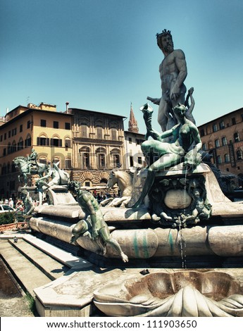 View on Piazza della Signoria and Fountain of Neptune in Florence - Italy