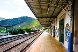 View on Pinhao train station in douro valley, Portugal